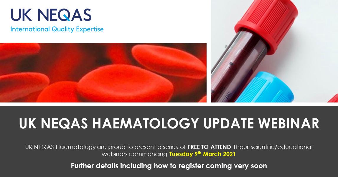 Advertising the UK NEQAS Heamatology webinar